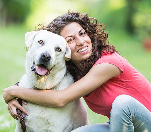 dog and woman love